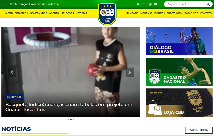 Ação que estimula prática de basquete em Guaraí ganha destaque no site da confederação nacional