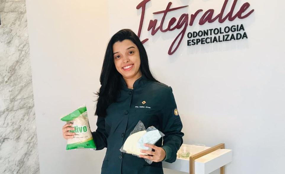 Odontóloga oferece máscara de tecido em troca da doação de 1Kg de alimento em Guaraí