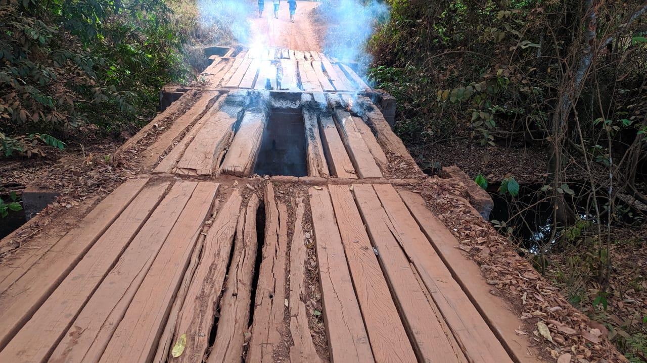 Ponte sobre o Ribeirão Tranqueira é incendiada na zona rural de Guaraí; caso será investigado