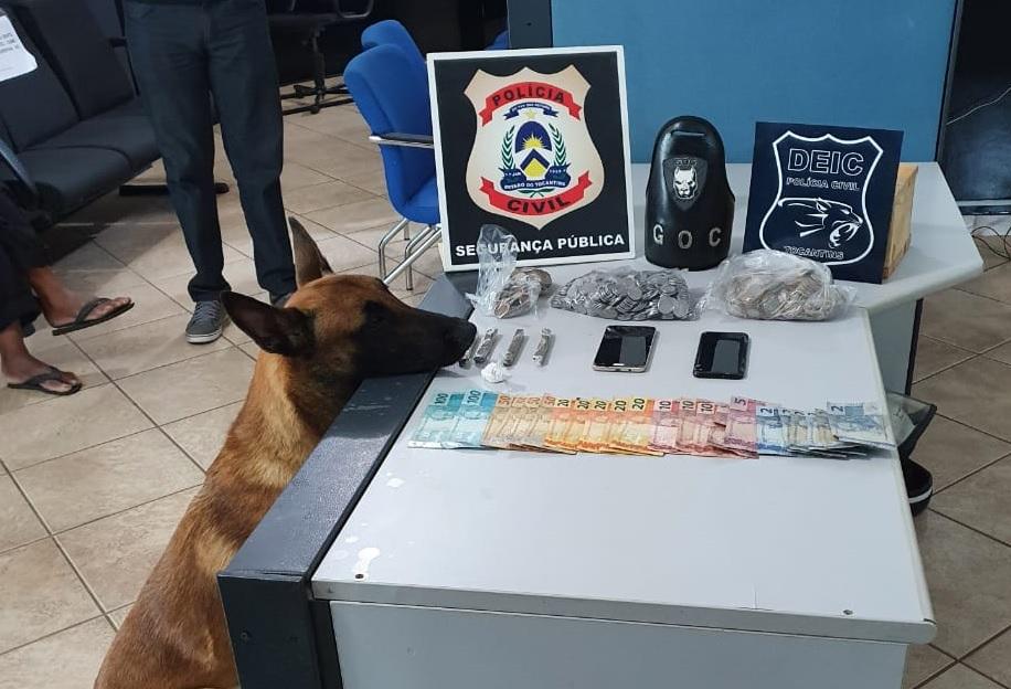 Com ajuda de cães farejadores do GOC, Polícia Civil prende três suspeitos por tráfico em Guaraí