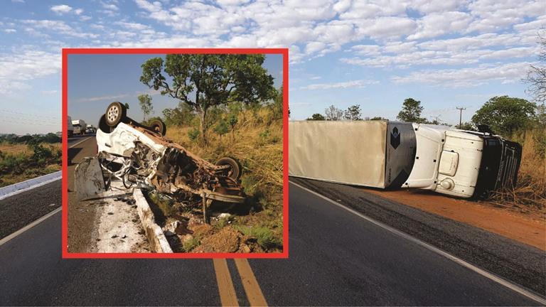 BR-153 fica parcialmente interditada após colisão frontal entre carreta baú e Uno em Guaraí