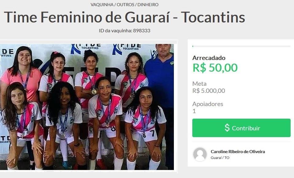 Vaquinha virtual arrecada fundos para equipe feminina de futsal participar de torneio nacional